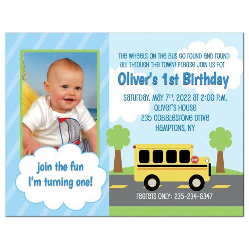 Bus Transportation Photo Birthday Invitation