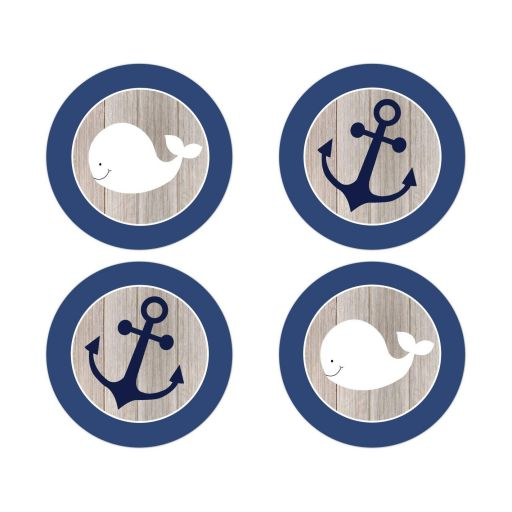 White Whale and Navy Blue Anchor Envelope Seals