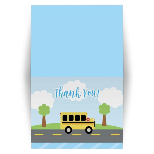Bus Town Birthday Folded Thank you card