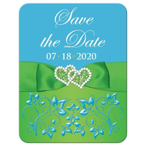 Malibu blue, lime green, and white wedding save the date card with flowers, ribbon, bow, jewels, glitter, joined hearts, and scrolls.