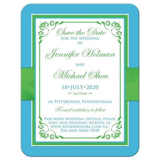 Malibu blue, lime green, and white wedding save the date cards with flowers, ribbon, bow, jewels, glitter, joined hearts, and scrolls.