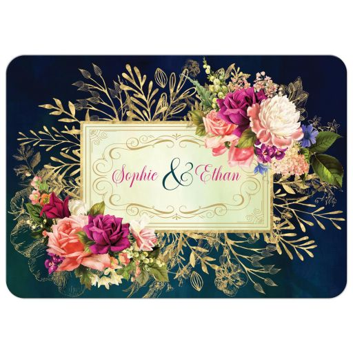 ​Victorian floral wedding invitation in teal, navy blue, green, and gold colors with roses, peonies and assorted flowers, greenery, and foliage for a fall, autumn, or winter wedding with old world European style.