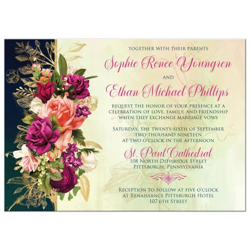 ​Victorian floral wedding invite in teal, navy blue, green, and gold colors with roses, peonies and assorted flowers, greenery, and foliage for a fall, autumn, or winter wedding with old world European style.
