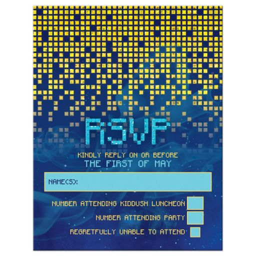 Blue gold pixelated digital techno space video game Bar Mitzvah RSVP card front