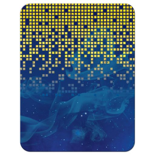 Blue gold pixelated digital techno space video game Bar Mitzvah RSVP card back