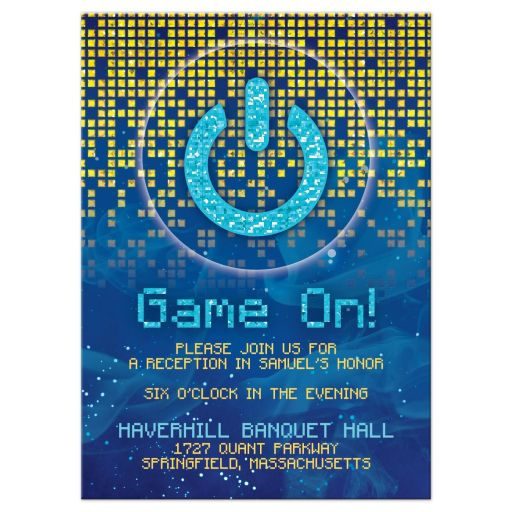Blue gold pixelated digital techno space video game Bar Mitzvah reception party card front