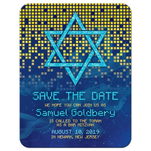 Blue gold pixelated digital techno space video game Bar Mitzvah save the date announcement front