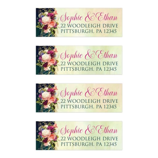 ​Victorian floral wedding return address mailing labels in teal, navy blue, green, and gold colors with roses, peonies and assorted flowers, greenery, and foliage for a fall, autumn, or winter wedding with old world European style.