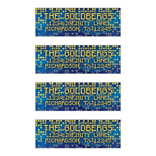 ​Vibrant blue and gold raining pixel space scene video game Bar Mitzvah return address labels