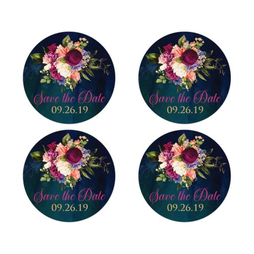 Victorian floral wedding save the date envelope seal or wedding favor sticker in teal, navy blue, green, and gold colors with roses, peonies and assorted flowers, greenery, and foliage for a fall, autumn, or winter wedding with old world European style.