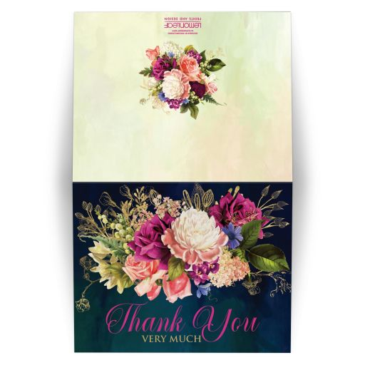 Victorian floral wedding thank you card in teal, navy blue, green, and gold colors with roses, peonies and assorted flowers, greenery, and foliage for a fall, autumn, or winter wedding with old world European style.