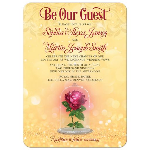 Red gold beauty and the beast enchanted rose be our guest fairy tale wedding invitation