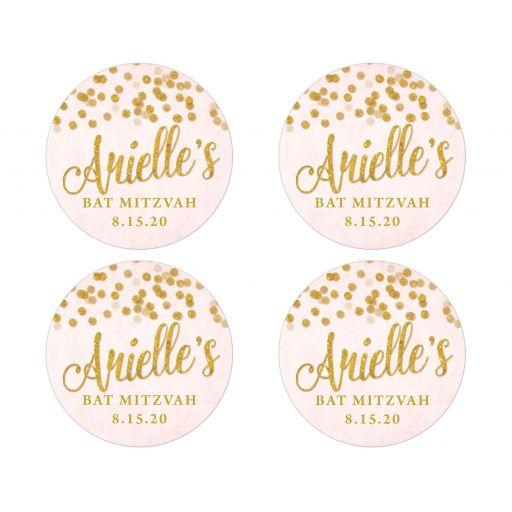 Blush Pink & Gold Bat Mitzvah Round Stickers