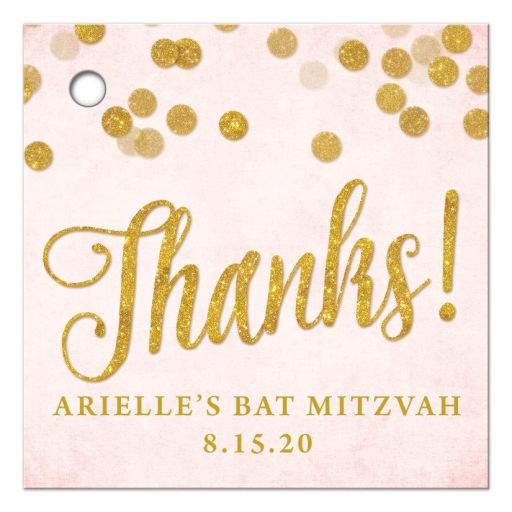 Blush Pink & Gold Bat Mitzvah Favor Tags