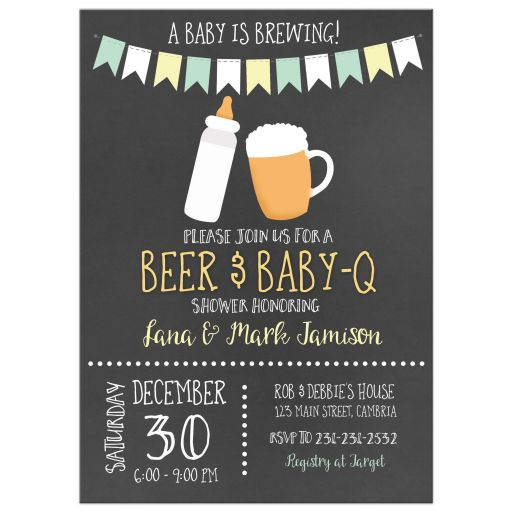Baby-Q Beer and BBQ Gender Neutral Baby Shower Invitation