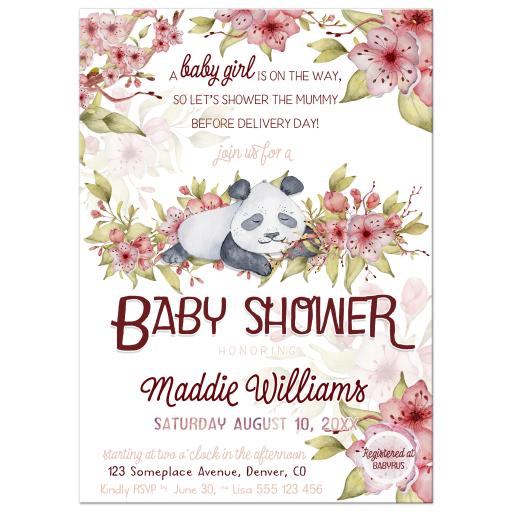 Cute Panda Spring Baby Girl Baby Shower invite