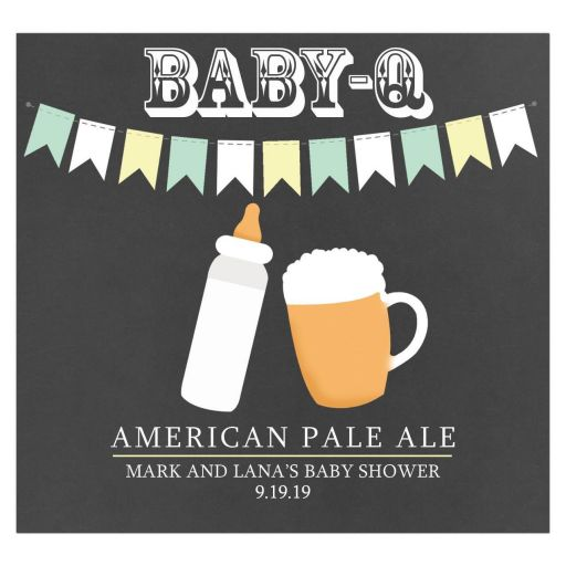 Baby-Q Mint Green and Yellow Baby is Brewing Wine or Beer Label