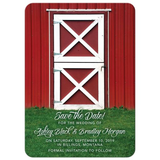 ​Fun, whimsical country farm red barn wedding save the date announcement