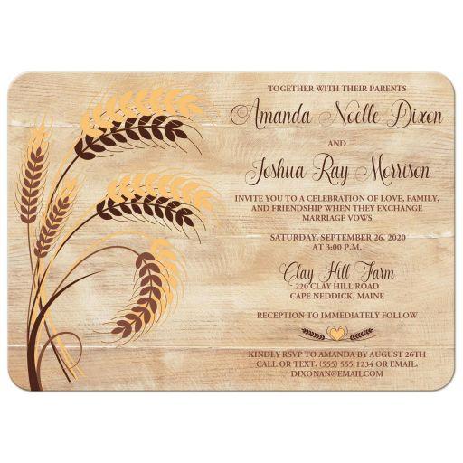 Yellow, tan, brown wheat theme wedding invitation for a farm, farming, or barn wedding.