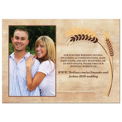 ​Yellow, tan, brown wheat theme wedding invites for a farm, farming, or barn wedding.