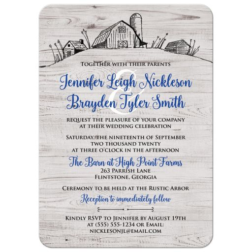 ​Rustic farm farming barn sketch wedding invitation in royal blue and grey gray wood.