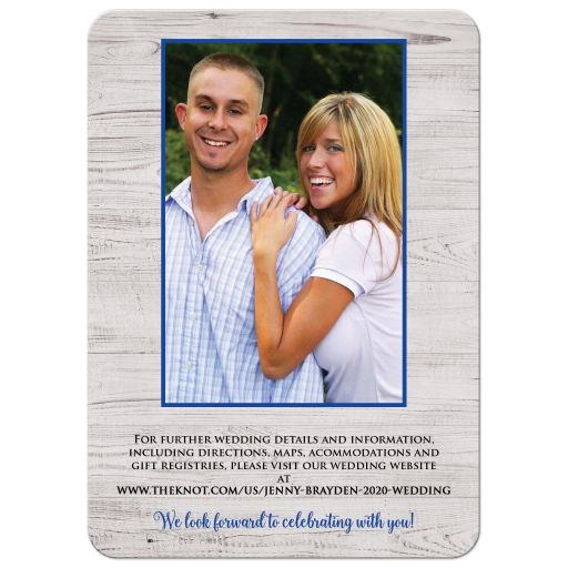 ​Rustic farm farming barn sketch wedding invite in royal blue and grey gray wood.