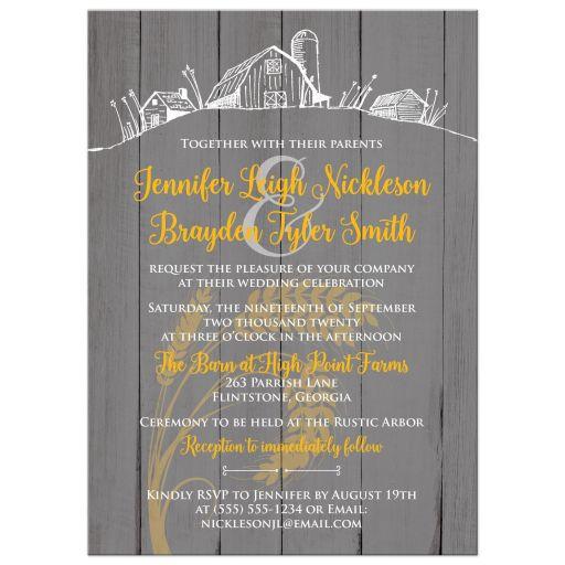 Rustic farm farming barn sketch with wheat wedding invitation in yellow, grey gray, and white barn wood grain.