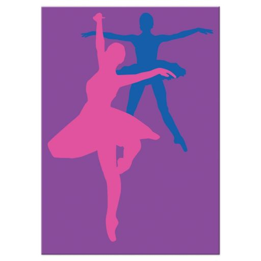 ​Dance, dancer, ballet Bat Mitzvah reception or party enclosure card invite with funky rainbow stripes pattern in yellow, lime green, hot pink, turquoise blue, orange, red, and purple with a black silhouette of a dancer, white musical notes, and a Star of David.