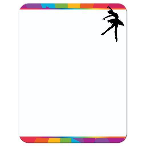 ​Dance, dancer, ballet Bat Mitzvah thank you note with funky rainbow stripes pattern in yellow, lime green, hot pink, turquoise blue, orange, red, and purple with a black silhouette of a dancer, white musical notes, and a Star of David.