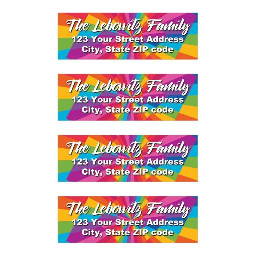 Funky ​Bat Mitzvah return address mailing labels with a rainbow sunburst stripes pattern in pink, lime green, aqua blue, orange, red, purple, and blue with white lettering.