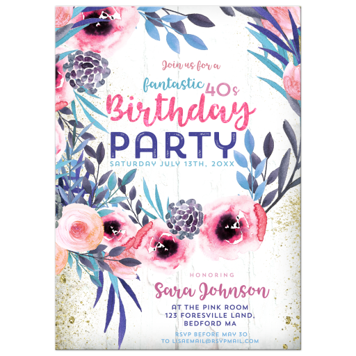 Blue Pink Floral Wreath | Birthday Party Invitation