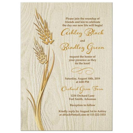 ​​Rustic harvest wheat and wood wedding invitation front