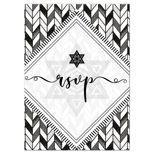 Boho Geometric Black and White Bat Mitzvah