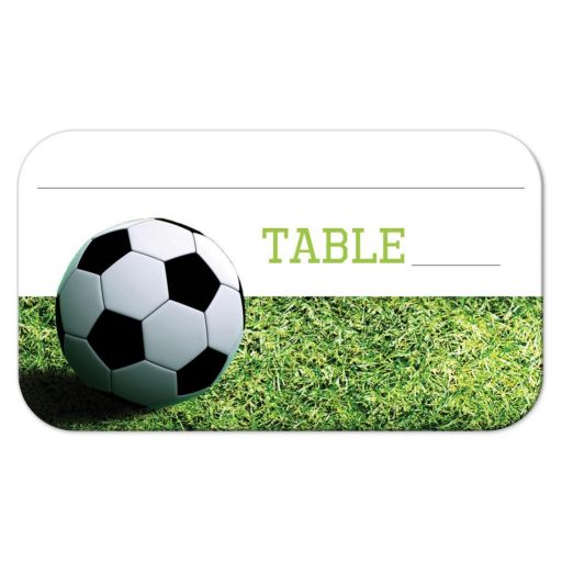 Soccer theme place card or escort card with a black and white soccer ball on green grass.