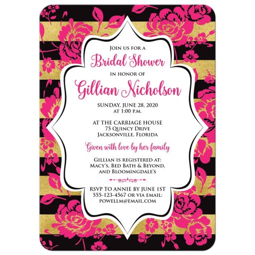 ​Black, gold, hot pink, and white floral bridal shower invitation.