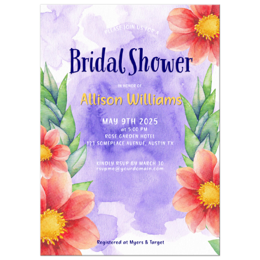 Watercolor Floral Bridal Shower Invitation