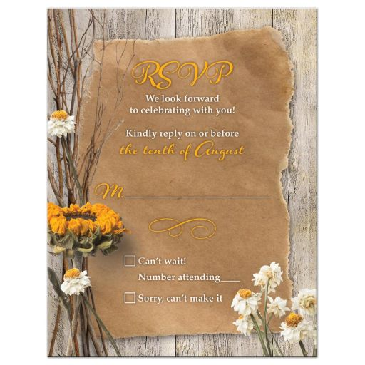 Rustic dried sunflower and daisies autumn wedding RSVP card front