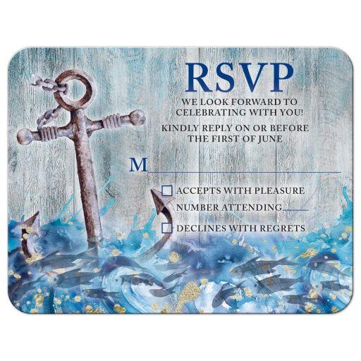 Unique anchor, fish, crashing waves rustic nautical Bar Mitzvah RSVP card front