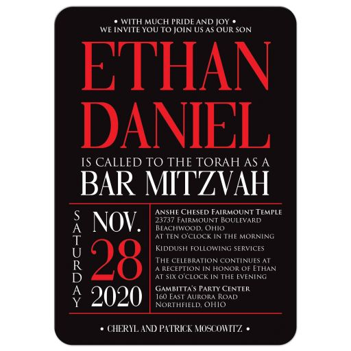 Modern black, red, and white modern typography Bar Mitzvah Bat Mitzvah invitation with a zig zag pattern.