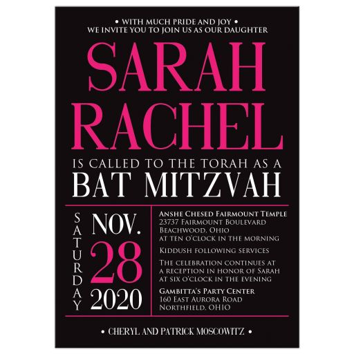 ​Trendy hot pink, black, and white modern typography Bat Mitzvah invitation with a bold painted brush strokes pattern in fuchsia pink.
