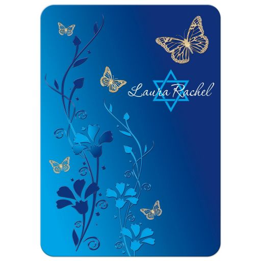 Royal Blue, teal blue and gold floral Bat Mitzvah invitation with gold butterflies, turquoise flowers and a Jewish Star of David.