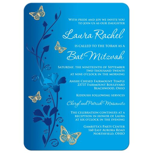 Royal Blue, teal blue and gold floral Bat Mitzvah invite with gold butterflies, turquoise flowers and a Jewish Star of David.