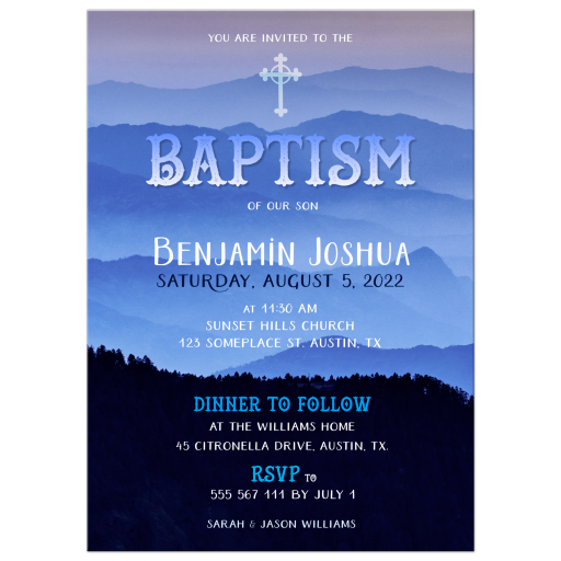 Nature Blue Hills Baptism Invitation Card