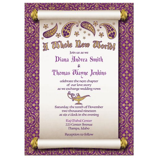 Fun Arabian Nights Aladdin magic genie lamp fairy tale wedding invitation front