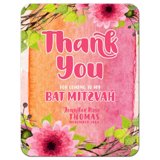 Pink Flowers Watercolor Bat Mitzvah Thank You