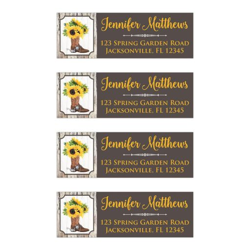 ​Rustic western address labels with sunflowers and cowboy boot in yellow, brown, gray, and beige wood grain.
