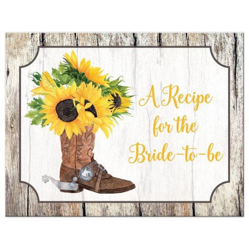 wood grain bridal shower recipe card with yellow watercolor sunflowers in brown cowboy boot for a rustic western wedding.