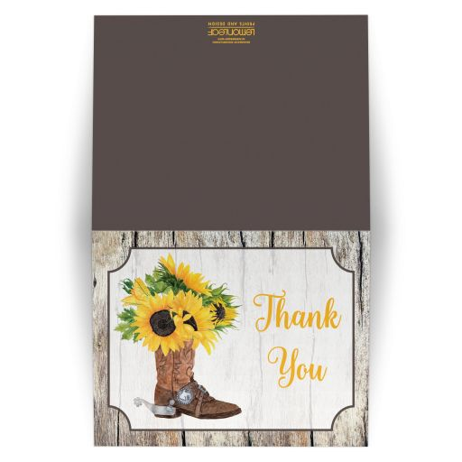 Rustic western sunflowers and cowboy boot thank you card in yellow, brown, gray, and beige wood.