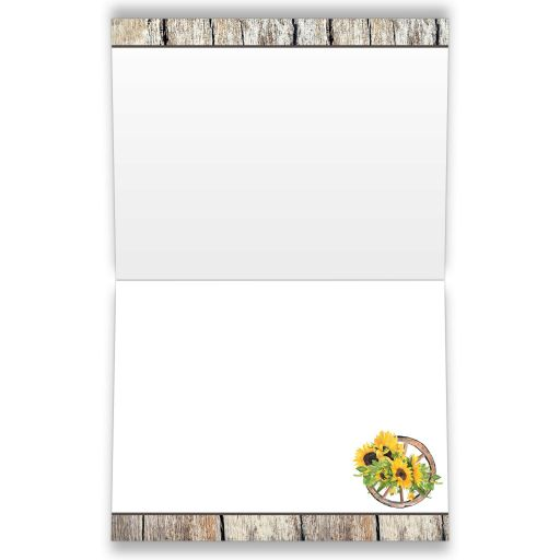 Sunflowers and cowboy boots thank you cards in yellow, brown, gray, and beige wood.