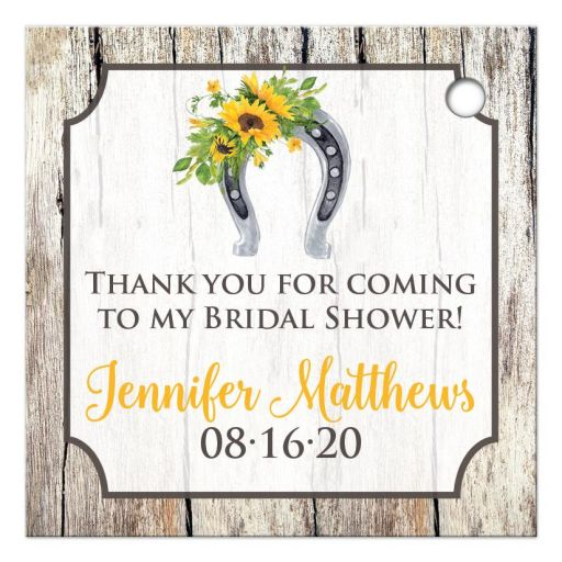 ​Rustic western bridal shower wedding shower party favor tag with sunflowers and cowboy boot in yellow, brown, gray, and beige wood.